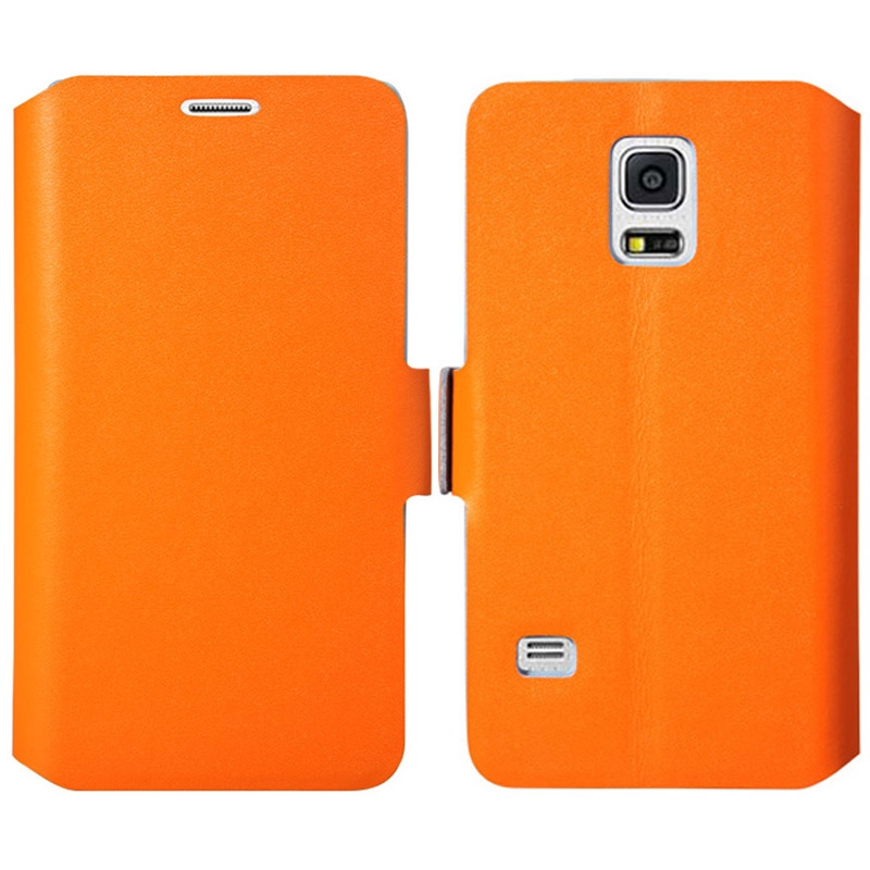 leder flipcase schutzh lle f r samsung galaxy s5 mini orange. Black Bedroom Furniture Sets. Home Design Ideas